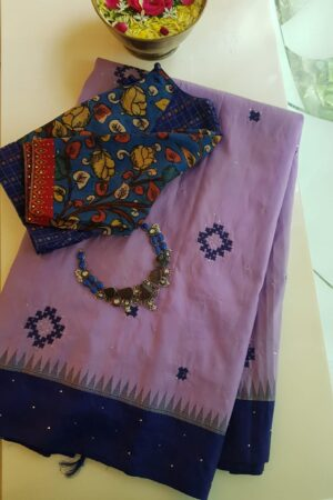 purple with blue border kanchi silk saree with kutch work