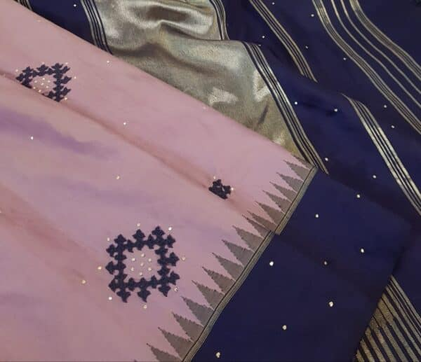 purple with blue border kanchi silk saree with kutch work1