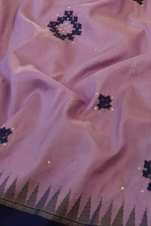 purple with blue border kanchi silk saree with kutch work3