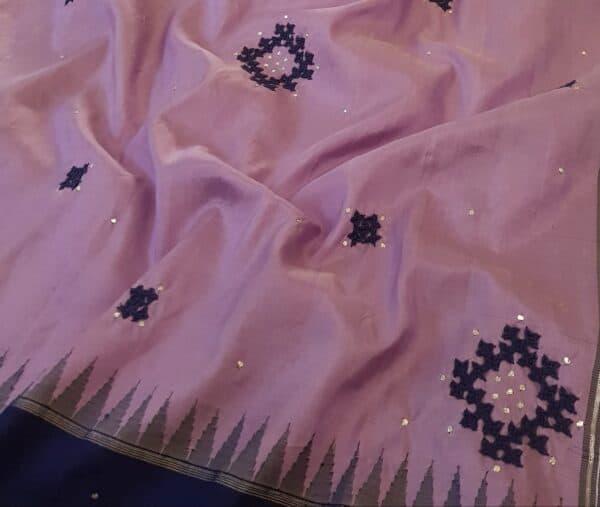purple with blue border kanchi silk saree with kutch work3