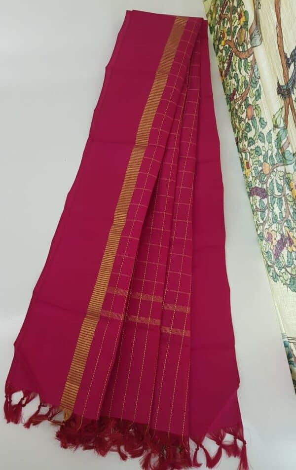 rani pink kanchi dupatta with zari checks