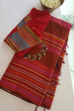 red phulia cotton saree