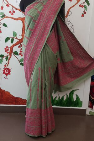 russian green tussar saree with pink kutch work1