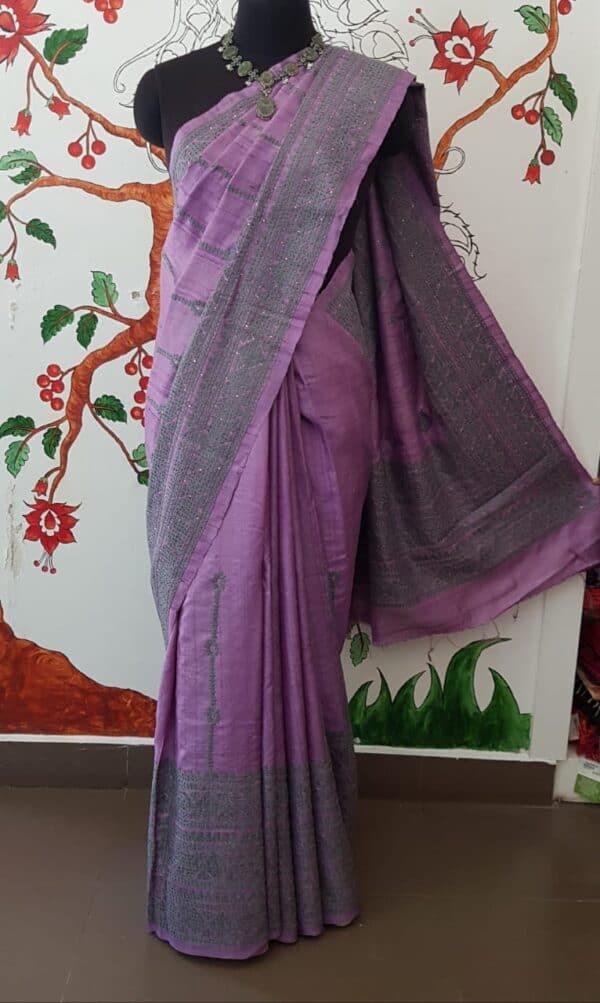 lavender tussar saree with pink kutch work2