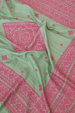russian green tussar saree with pink kutch work6