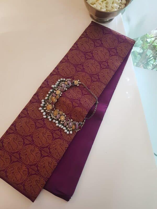 violet rising border silk saree