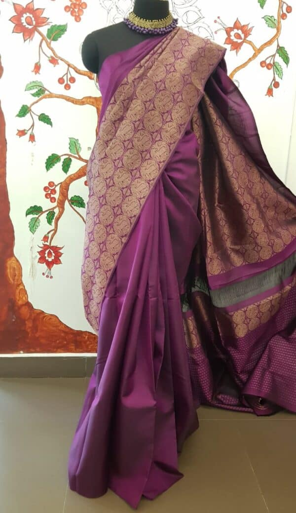 violet rising border silk saree1