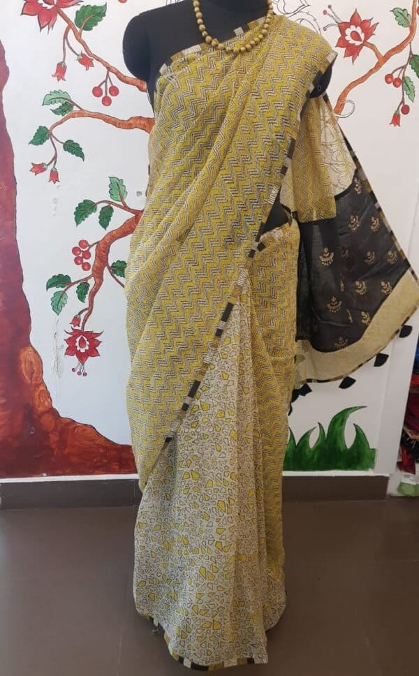 yellow, beige and black half half kota saree with silk pallu1