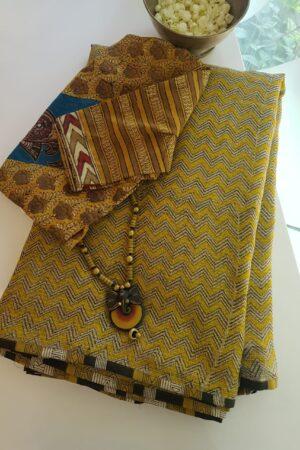 yellow beige and black zig zag kota saree with silk pallu