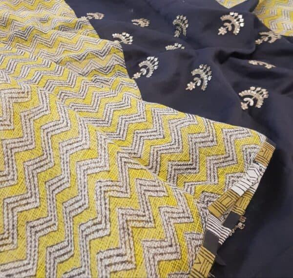 yellow beige and black zig zag kota saree with silk pallu2