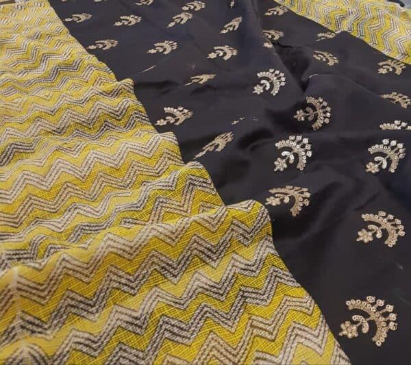 yellow beige and black zig zag kota saree with silk pallu3