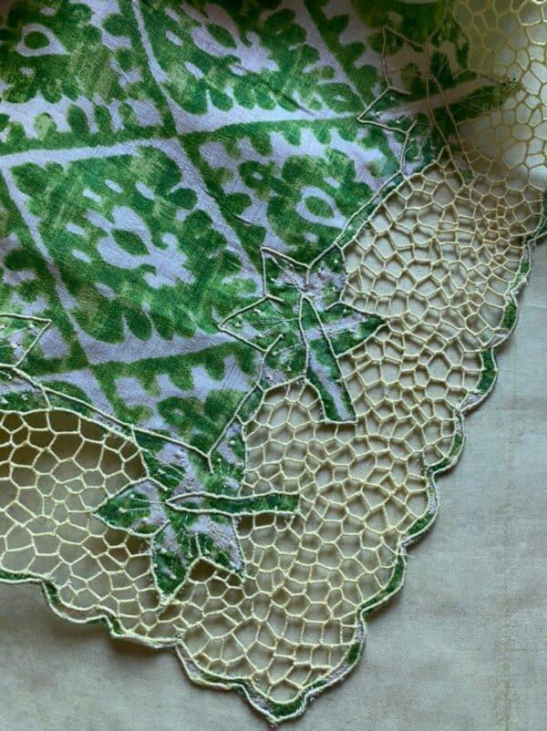 yellow orgnaza saree with green tussar pallu and cutwork1