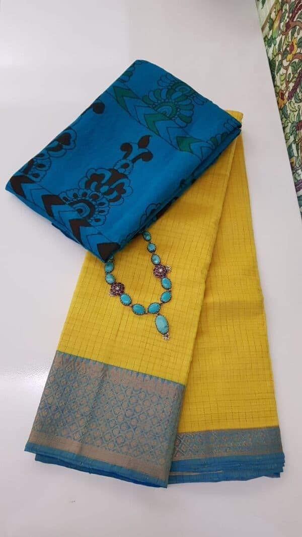 yellow mangalgiri silk cotton saree with blue