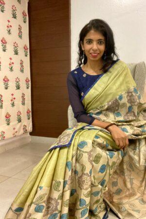 Uttara - Cardamom green beige tussar kalamkari saree