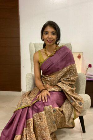 Uttara - Mauve brown kalamkari tussar saree