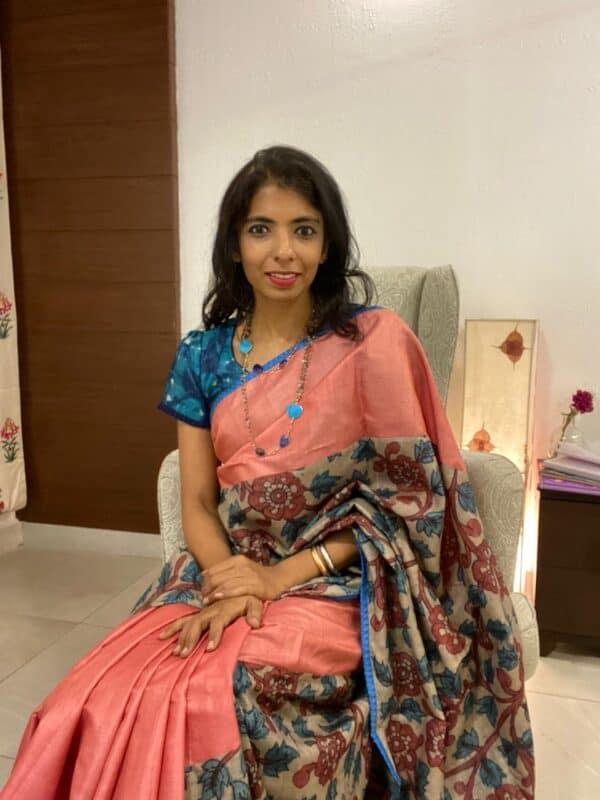 Uttara - peach kalamkari tussar saree