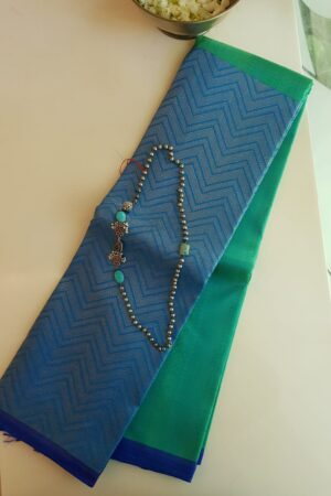 aqua green and blue half half kanchi silk saree
