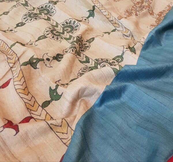 blue and beige kalamkari saree2