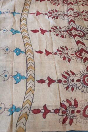 blue and beige kalamkari saree4