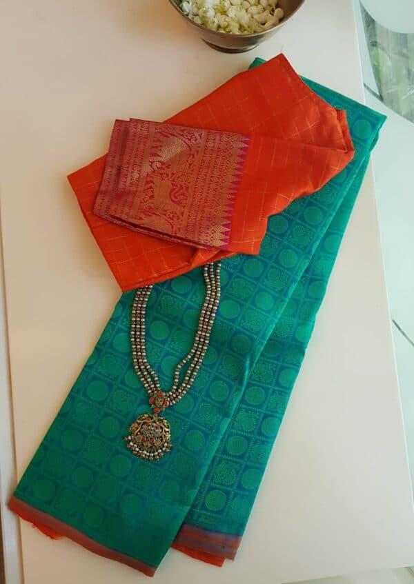 blue jacquard kanchi silk saree