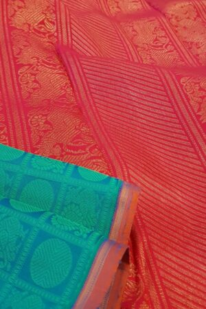 blue jacquard kanchi silk saree2
