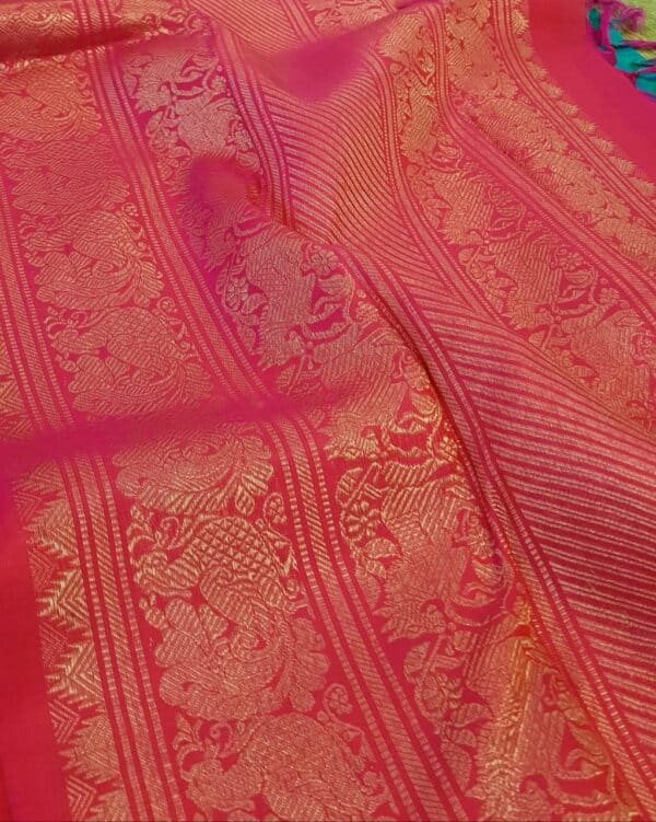 blue jacquard kanchi silk saree4