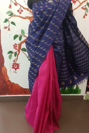 blue kanchi silk saree with birds4