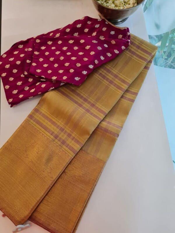 cream and gold kanchipuram silk saree with checks