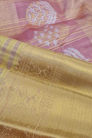 cream and gold kanchipuram silk saree with checks2