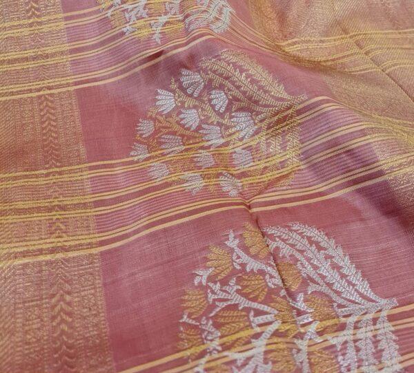 cream and gold kanchipuram silk saree with checks3