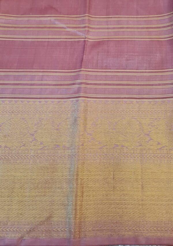 cream and gold kanchipuram silk saree with checks4
