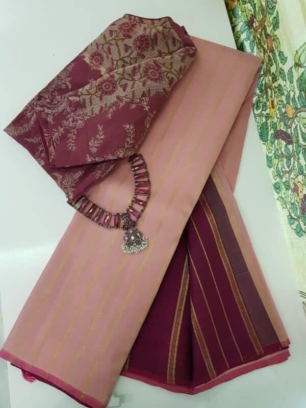 dusty pink with dark pink stripes kanchipuram silk saree