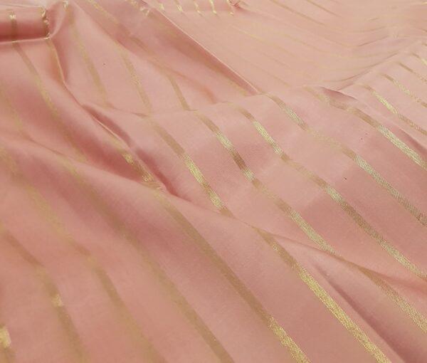 dusty pink with dark pink stripes kanchipuram silk saree1