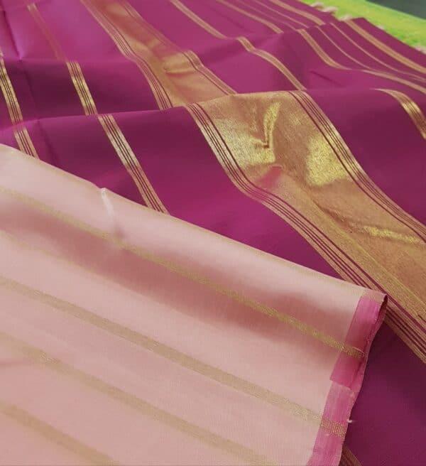 dusty pink with dark pink stripes kanchipuram silk saree2
