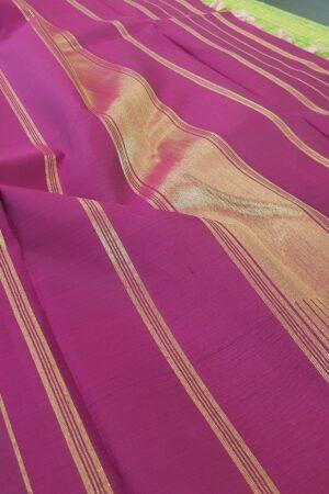 dusty pink with dark pink stripes kanchipuram silk saree3