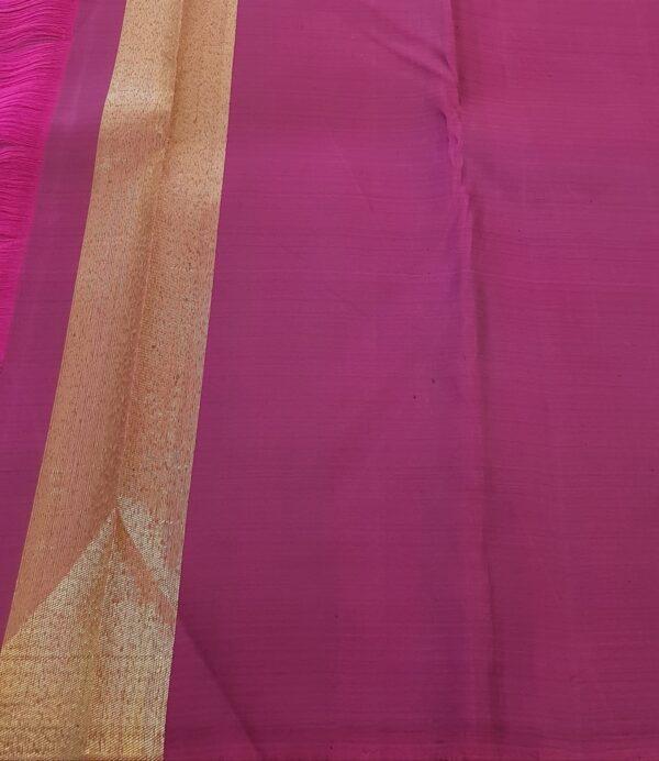 dusty pink with dark pink stripes kanchipuram silk saree4