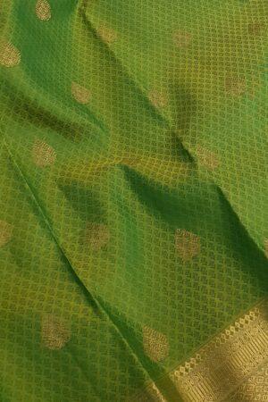green kanchipuram silk saree with thread jacquard and morning evening border1