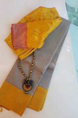 grey and mustard silk saree