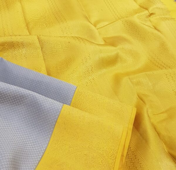 grey and mustarf silk saree1