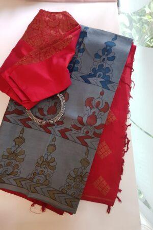 grey and red with kalamkari
