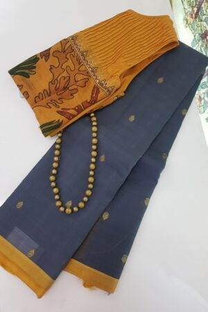 grey with mustard border kora silk saree