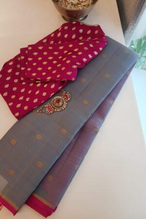 grey with pink borderkora silk saree