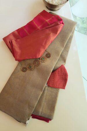 iced mocha brocade saree with leaf design