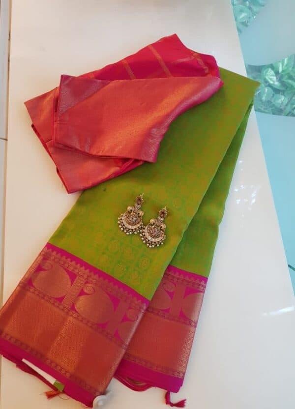 lime green jacquard with pink border saree