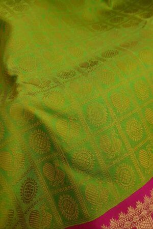 lime green jacquard with pink border saree1