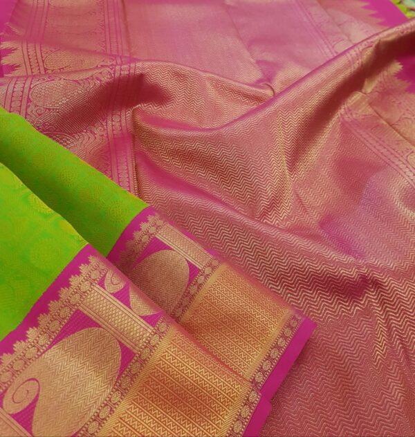 lime green jacquard with pink border saree2