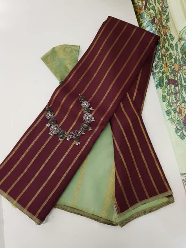 maroon with mint green zari lines kanchipuram silk saree