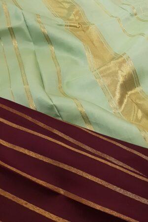 maroon with mint green zari lines kanchipuram silk saree2