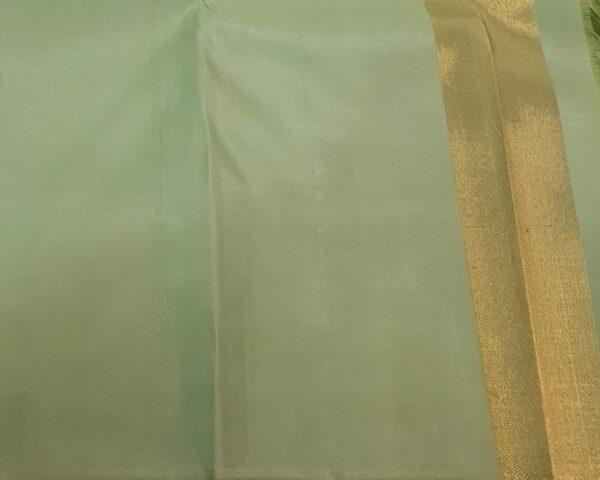 maroon with mint green zari lines kanchipuram silk saree3