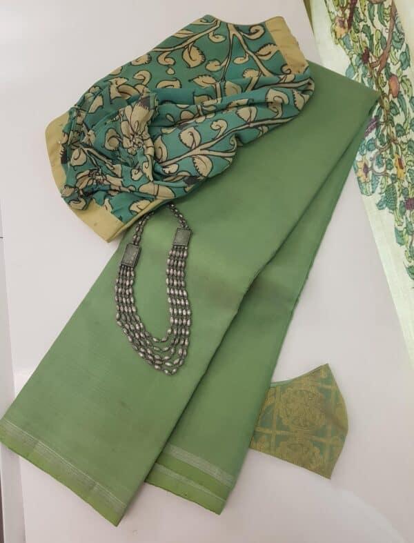 mint green palin kora silk sare